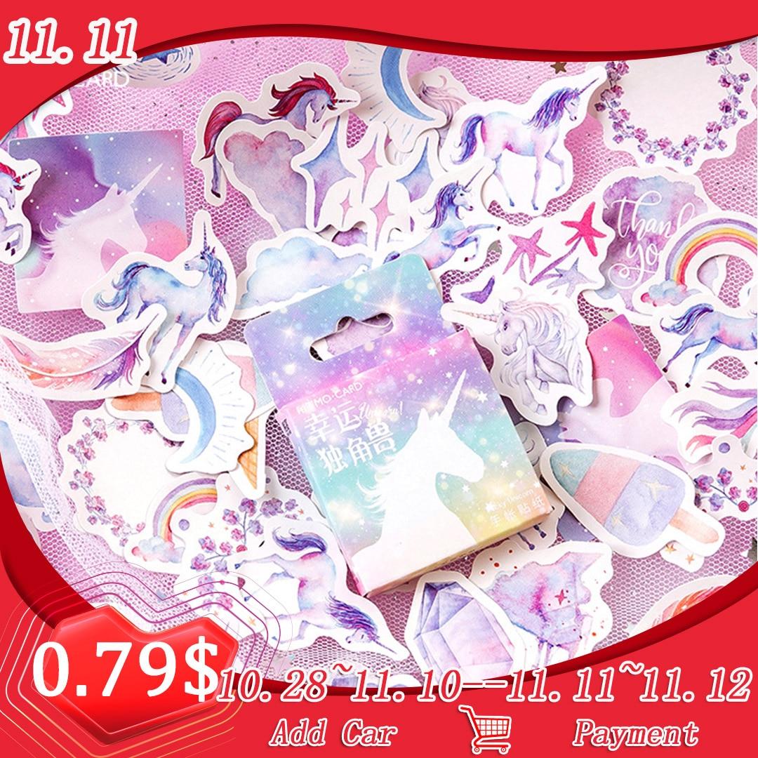 46Pcs Unicorn Stickers Set Deco DIY Diary Planner Bullet Journal Kawaii School Supplies Wedding Birthday Stickers Scrapbooking