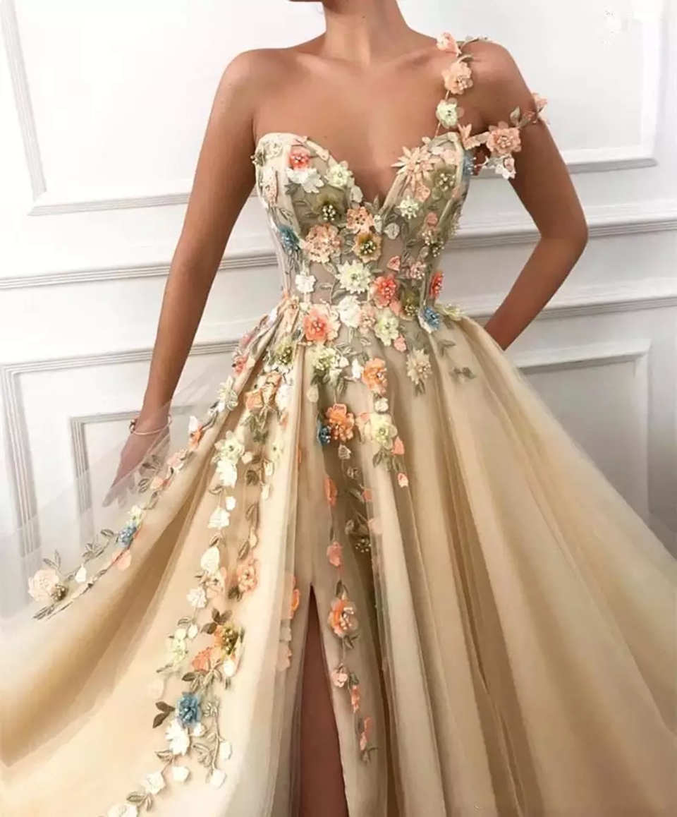 Champagne Split Prom Dresses 2021 Women Party Night Long Vestidos Gala Lace Appliques Flowers Evening Gown A Line Robe De Soiree