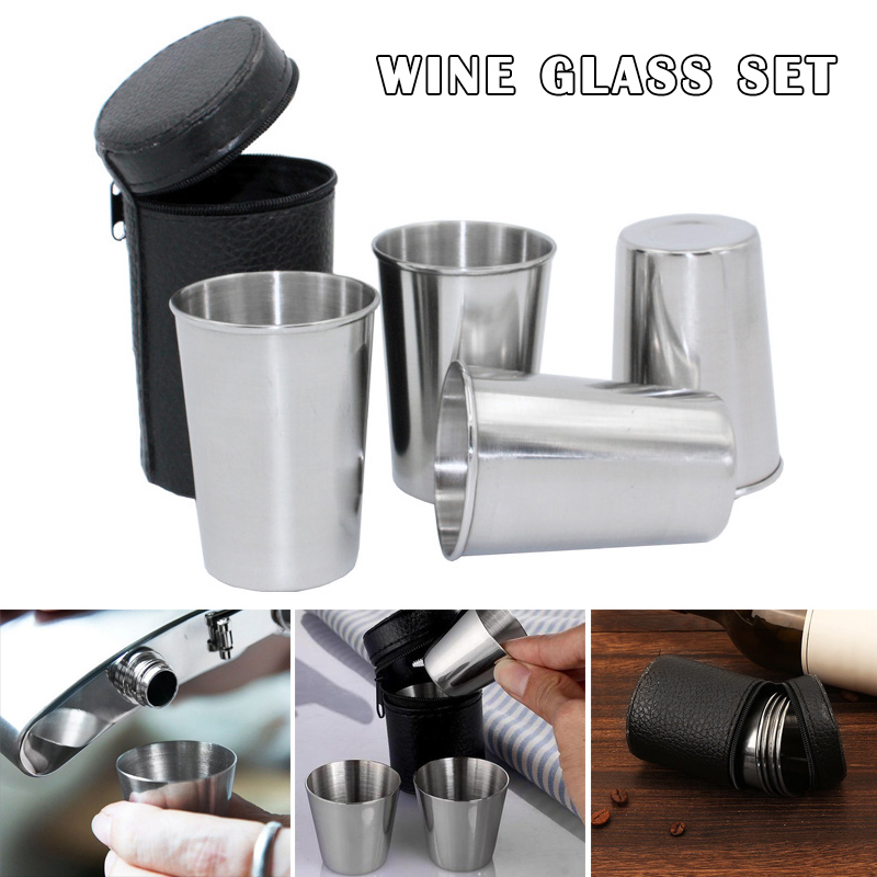 4PCS Stainless Steel Drinking Cup Travel Mug Coffee Tea Beer Cup for Camping Holiday Picnic N66