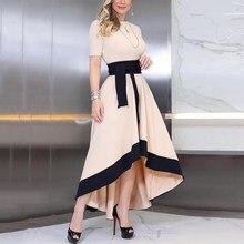Women Round Neck Slim Maxi Dress Office Lady A-Line Elegant Party Night Long Dress цена