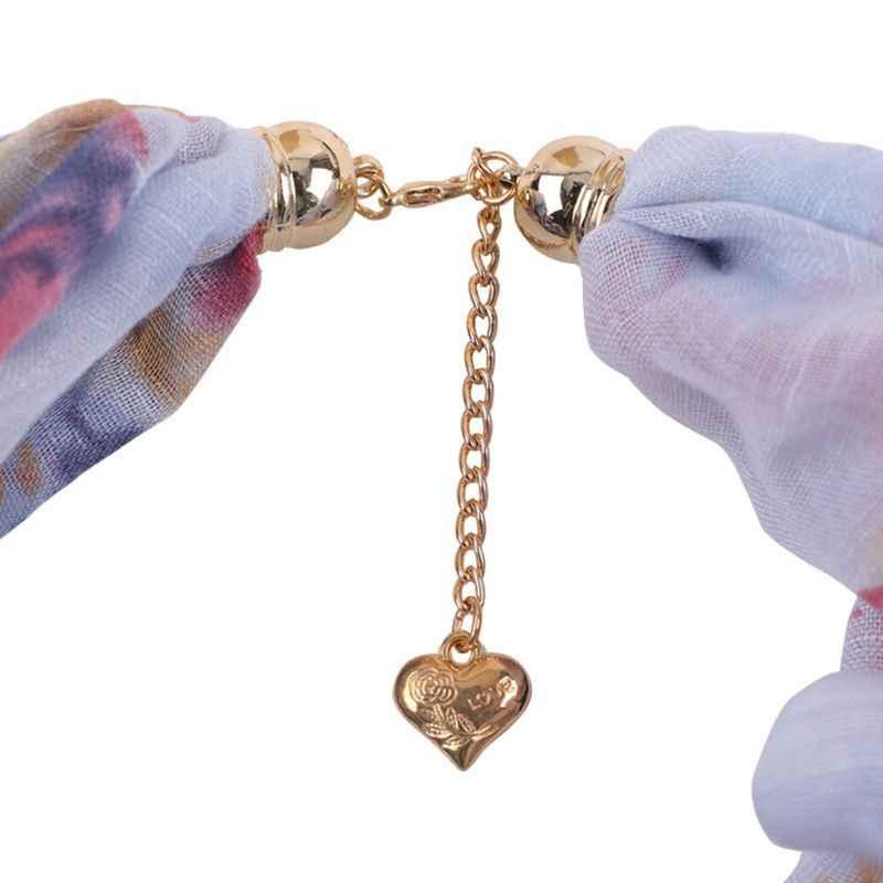 Vrouwen Faux Crystal Hart Hanger Ronde Kraag Bloemen Infinity Sjaal Ketting