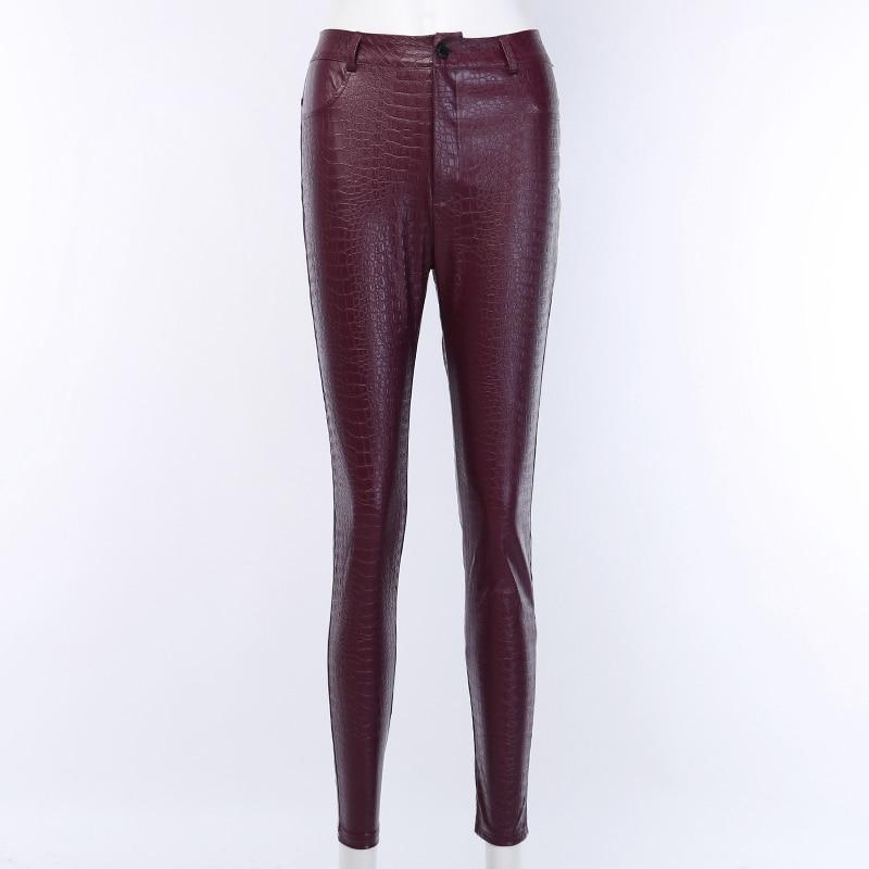 InstaHot Black High Waist Pencil Faux Leather Pants Women Casual Elegant Carving Print Ankle Length Pants Streetwear Trousers 47