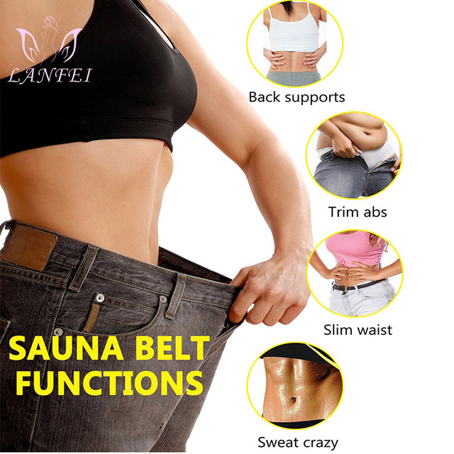 LANFEI Neoprene Sweat Waist Trainer Belt Women Weight Lose Body Shaper Sauna Slimming Strap Tummy Control Fat Burn Girdle Corset 4