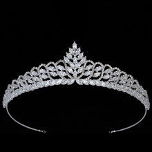 цена на Tiaras and Crown HADIYANA Simple Gothic Bridal Hair Accessories Lujo discreto Top Qualtity Cubic Zirconia BC5712 Corona Princesa