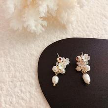 Natural Freshwater Pearl Earrings Vintage Baroque Stud For Women Girls Geometric Circle Korean Irregular