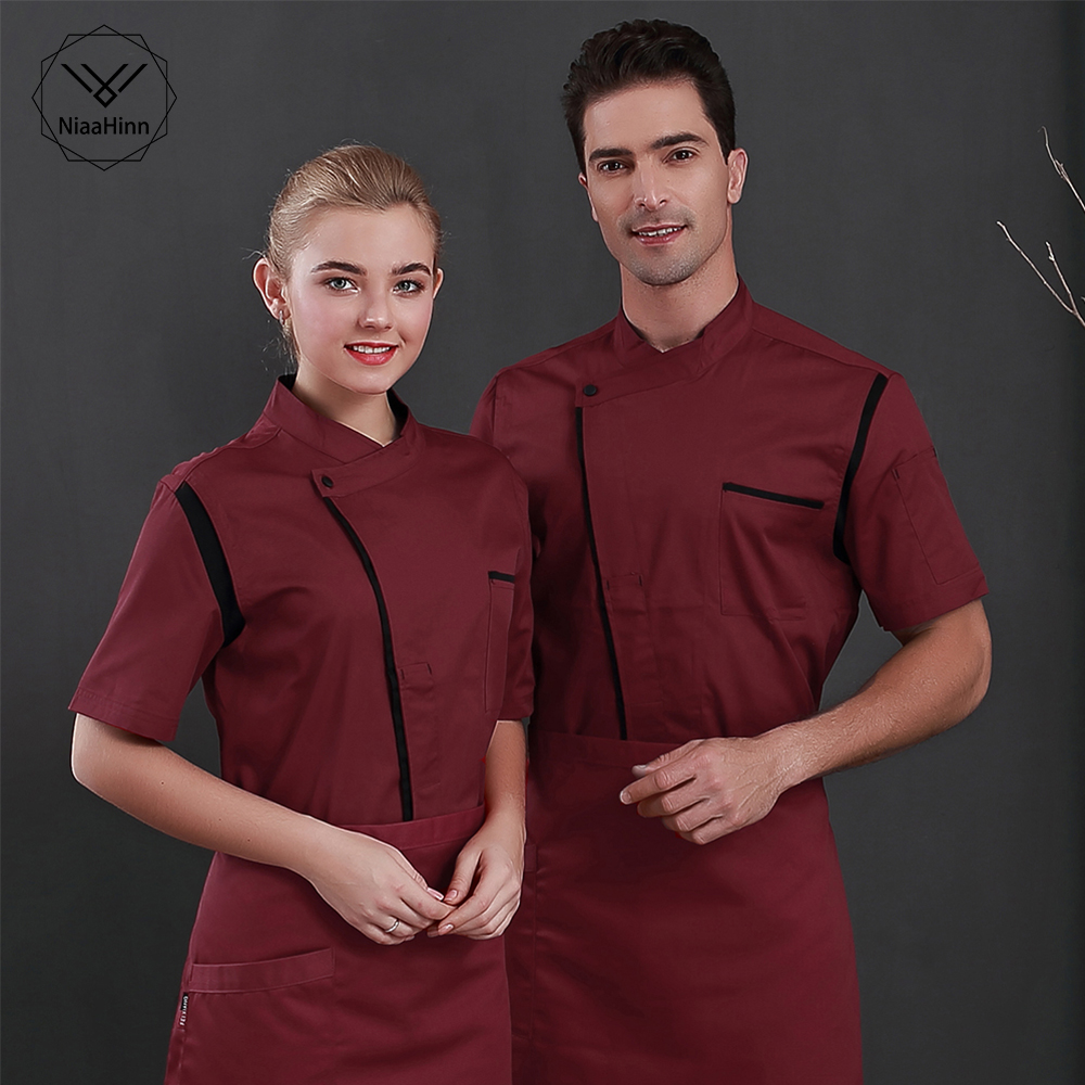 New Chef Uniform Short Sleeve Cook Jacket Waiter Male Female Waitress Hotel Coffee Shop Cool Summer Work Clothes Chef Shirt Hats