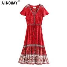 בציר שיק נשים אדום פרחוני הדפסת החוף בוהמי ריון מקסי שמלות גבירותיי V צוואר בוטון Boho קפלים גלימת vestidos