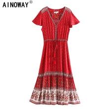 Vintage chic women Red Floral print  beach Bohemian rayon maxi dresses Ladies V neck botton Boho pleated robe vestidos