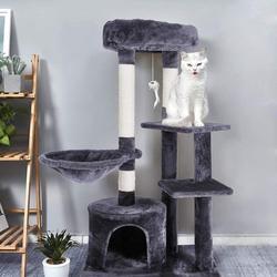 Planche à gratter pour chat | Cadre d'escalade avec berceau, tour pour animaux domestiques, colonnes renforcées, hauteur 106cm C03