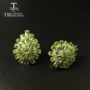 Image 3 - big size 10ct natural Peridot earring luxury party jewelry 925 sterling silver women jewelry for wife mom best gift from tbj