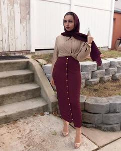 Image 3 - Muslim Women Long Maxi Skirt Bodycon Pencil Dubai Skirts Fashion Buttoms High Waist Middle East Abaya Sheath Long Skirt Islamic