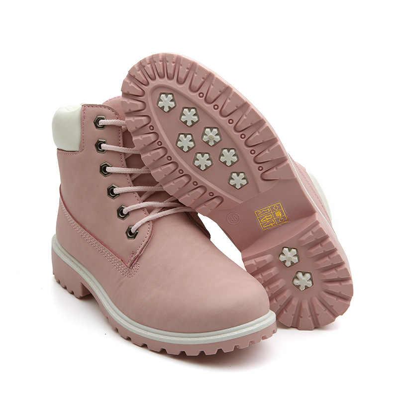 2019 Hot Mới Thu Đầu Mùa Đông Giày Nữ Đế bằng Giày Bốt Thời Trang Giữ ấm Giày Bốt nữ Thương Hiệu Người Phụ Nữ Mắt Cá Chân botas Ngụy Trang