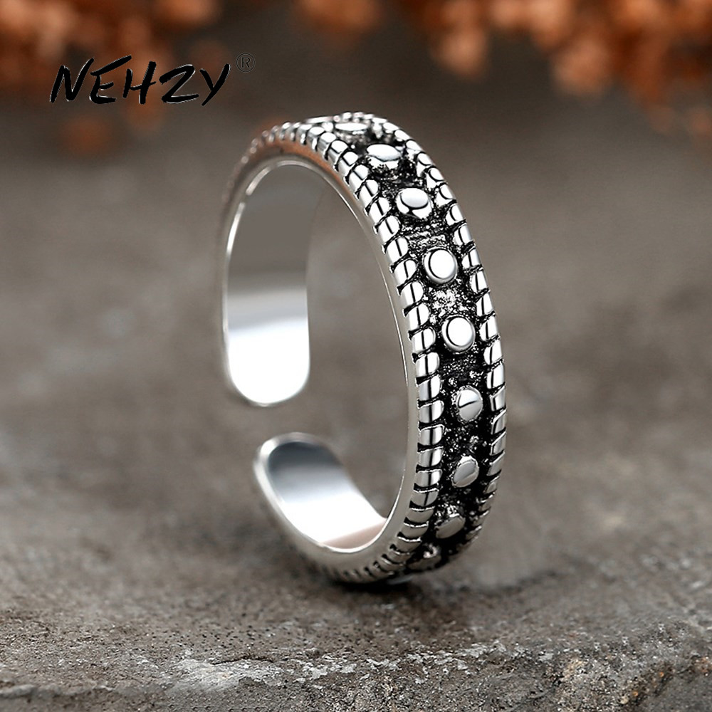 NEHZY 925 sterling silver ring fashion woman jewelry retro simple Thai silver adjustable original dot hot sale new ring