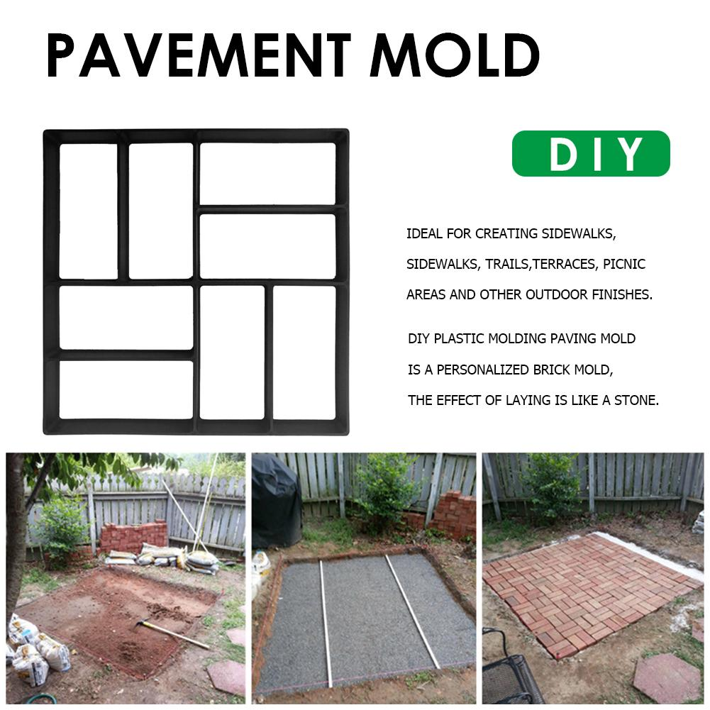 Black Plastic Making DIY Paving Mould Home Garden Floor Road Concrete Stepping Driveway Stone Path Mold Patio Maker Practical