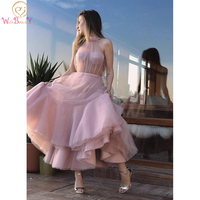 Elegant Prom Dressses Pink Tulle Ankle Length High Neck Illusion Sleeveless A Line Evening Gown vestido de graduacion largo