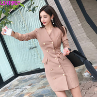 2019 autumn and winter clothing new Korean version of the temperament V neck double breasted Slim fashion bag hip dress