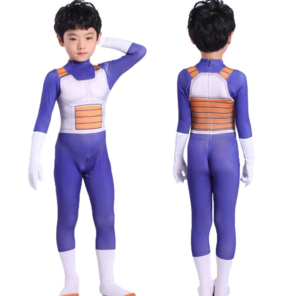 Halloween Erwachsene Kinder Anzüge Sohn Goku Film Baby Kinder Vegeta-Junge Cosplay Kostüm Anime Superhelden Overalls Schwarz Haar
