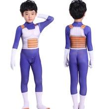 Trajes de Halloween para niños y adultos, disfraz de Vegeta, Anime, Superhéroes, monos de pelo negro, película de Son Goku