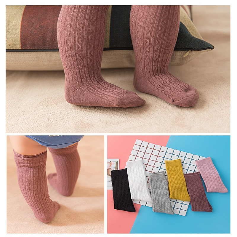 New Spring Summer Baby Girls Cotton Knee High Socks Solid Candy Color Kids Toddler Double Needle Short Warm Socks For Children