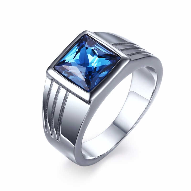 Vnox Blue CZ Zircon Engagement Band Ring for Men Silver-color Stainless Steel High Quality
