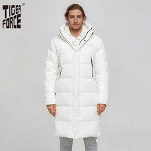 Tiger Force Winter Jacket For Men Long White Warm Coat Male Puffy Mens Hooded Jackets Black Zipper Windproof Overcoat