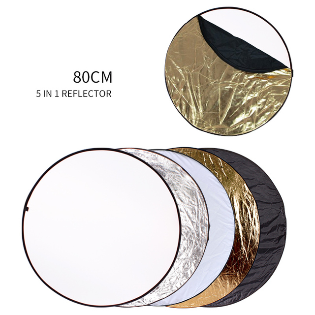 80cm 5 in 1 Portable Collapsible Round Light Reflector Flash Accessories for Photo Studio Multi Photo Disc Diffuers