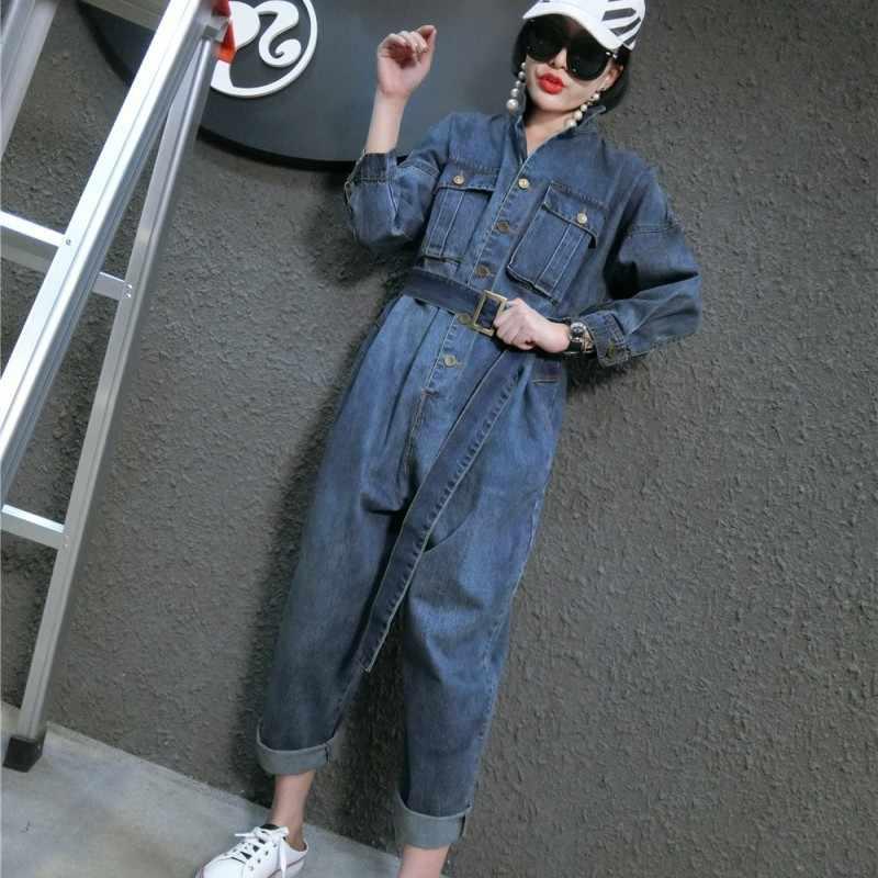 Estilo coreano solto ajuste casual macacões feminino cinto faixas denim jean macacão playsuits feminino tamanho grande M-XXL azul