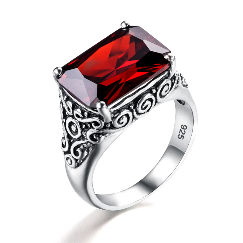 925 Sterling Silver Real Genuine Garnet Mens Wedding Wedding Band Ring