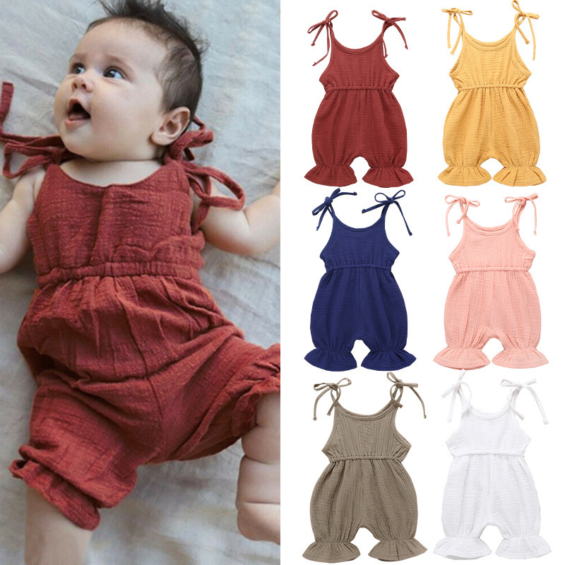 Summer Baby Clothes Sleeveless Ruffle Casual Baby Girls   Rompers   2019 New Solid Color Newborn Boys Overalls Infant Jumpsuits