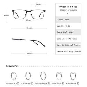 Image 3 - Merrys Ontwerp Mannen Titanium Legering Glazen Frame Bijziendheid Recept Brillen Optische Kader Stijl S2177