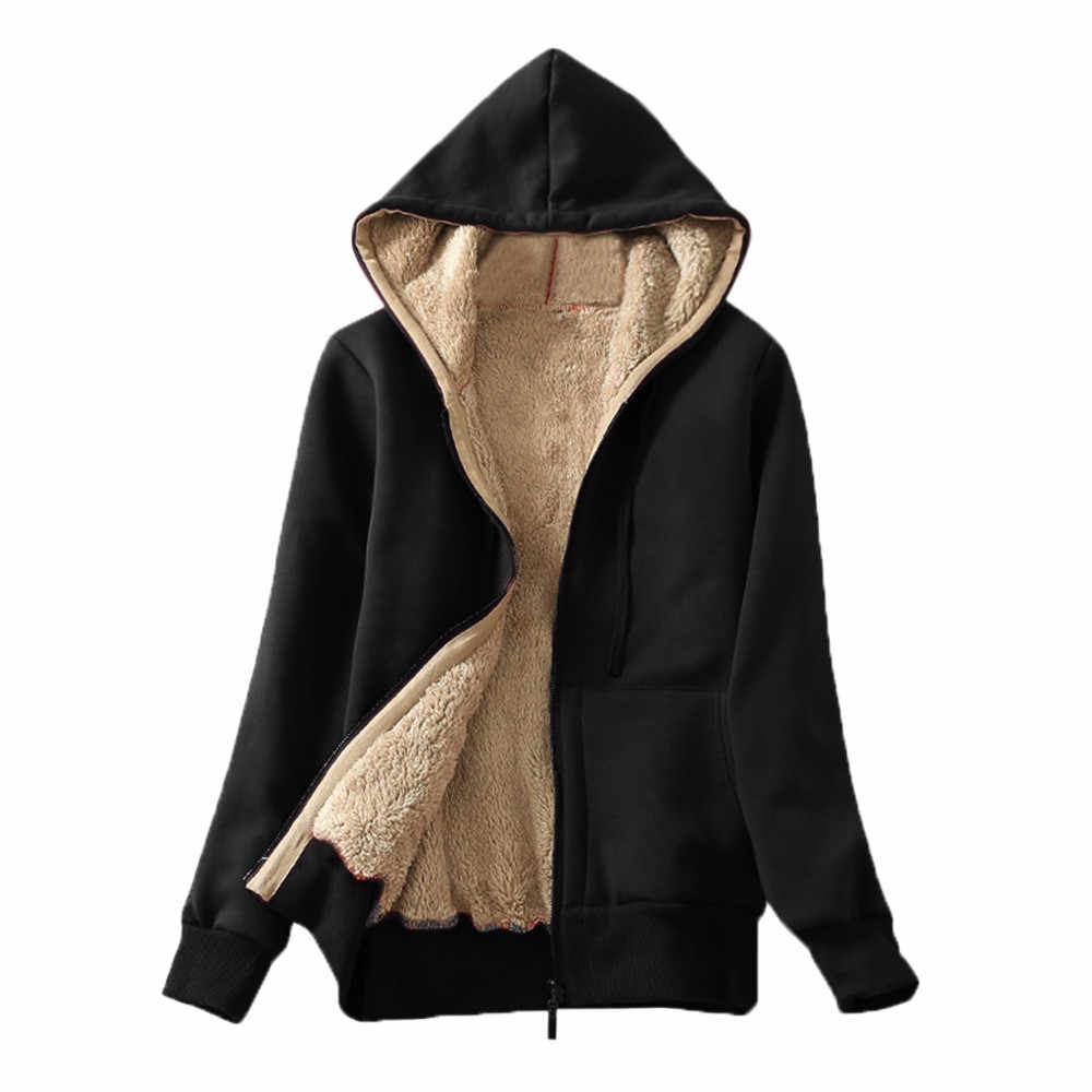 Women's Casual Sherpa Lined Hooded Jacket Sweatshirt Coat Winter Warm Fur Coat Thick Pocket Women Jacket Zip Up Hoodies Coat