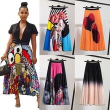 Pleated Skirt Women Summer 2021 New Print Cartoon Pattern Elastic Women Skirt Big Swing Party Holiday high waist skirts