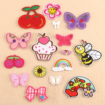 Customizable Wholesale Embroidered Cloth Label Customization as Request Rainbow Cherry Butterfly Apple Patch Children's Clothing image