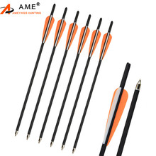 6/12PC 17Archery Mix Carbon Crossbow Arrow Hunting with Replacement Field Tips Outdoor Shooting Accessories