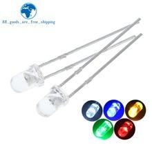 5 cores x20pces = 100 pces f3 ultra brilhante 3mm redondo água clara verde/amarelo/azul/branco/vermelho diodo emissor de luz lâmpada dides kit