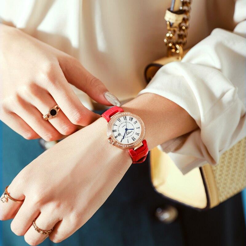 Carnival Women Watches Luxury Diamond Ladies Quartz Watch Leather Strap Wrist Watch Relogio Feminino - 3