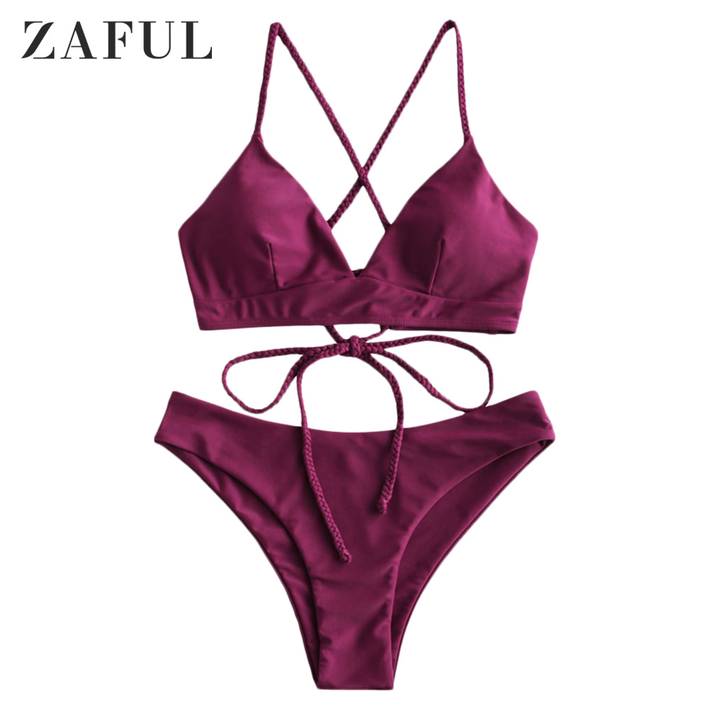 ZAFUL Braided Lace Up Padded Bikini Swimsuit Wire Free Solid Color Swimwear Padded Two Pieces Bathing Suit 2020 Fashion Summer