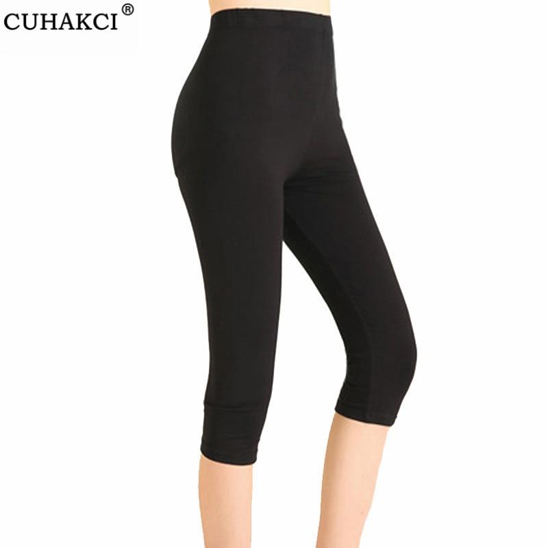 CUHAKCI Women Leggings Summer Jegging High Waist Elastic Capri Mid-Calf Fitness Legging Workout Plus Size Mujer Black Pants