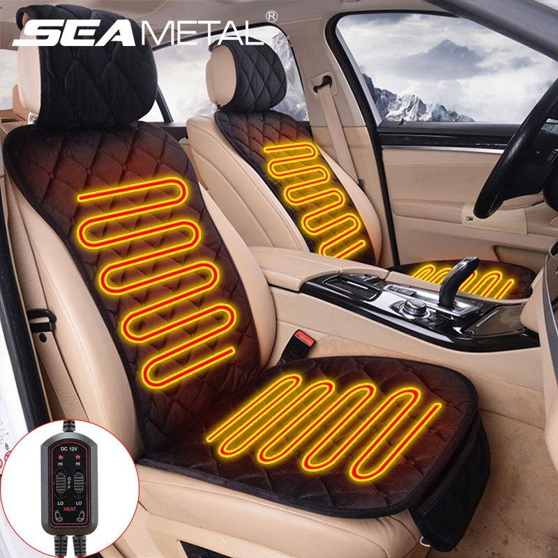 Cuscino per sedile riscaldato per auto 12V universale adatto per 5/7 posti coprisedili automobili cuscini per sedili peluche caldo invernale con Controller
