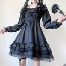 Vestido japão lolita estilo feminino princesa preto mini vestido de slash neck cintura alta vestido gótico rendas puff manga saia novo 2021