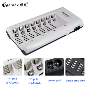 Image 3 - PALO Charger Original C808W 8 Slots Charger For AA / AAA Ni MH / Ni Cd Batteries Intelligent Rechargeable Battery Charger EU/ US
