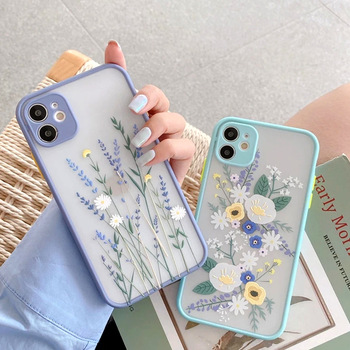 Fashion Flower Matte Transparent Phone Case For iPhone 11 12 Pro X XR XS Max SE2020 7 8 Plus 6 6s Plus Shockproof Silicone Cover 1