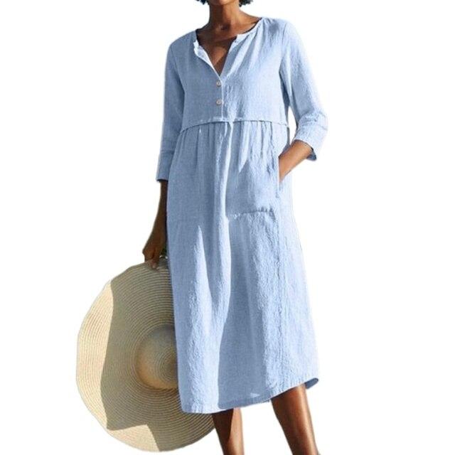 Linen Summer Dress Women Three Quarter Casual Pocket Woman Dress Solid A-Line Ruffles Dresses for Women 2021 robe femme 6