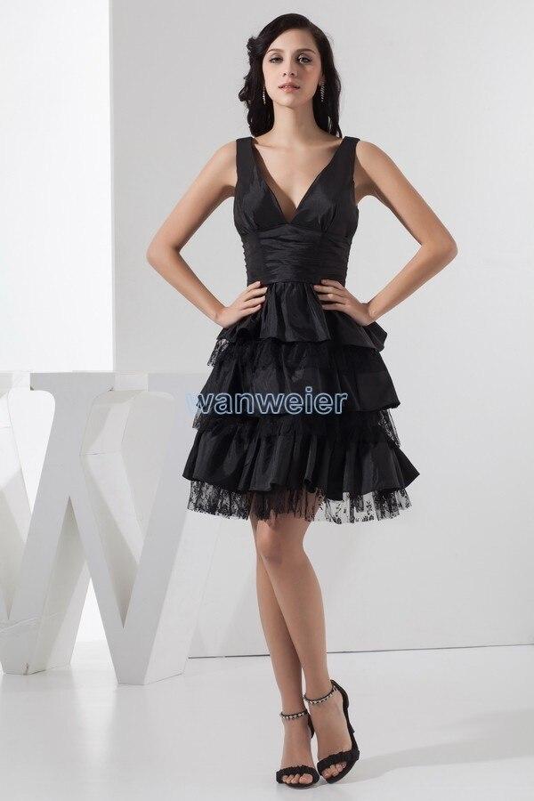 Free Shipping Fashion 2016 New Design Hot Pleat Vestidos Para Festa Custom Size/color Knee-Length Black V-neck Bridesmaid Dress