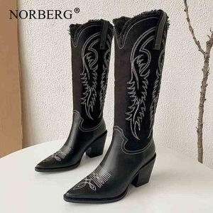 Женские ковбойские ботильоны, ковбойские черные кожаные ботинки с острым носком, осенне-зимние модные ковбойские ботинки