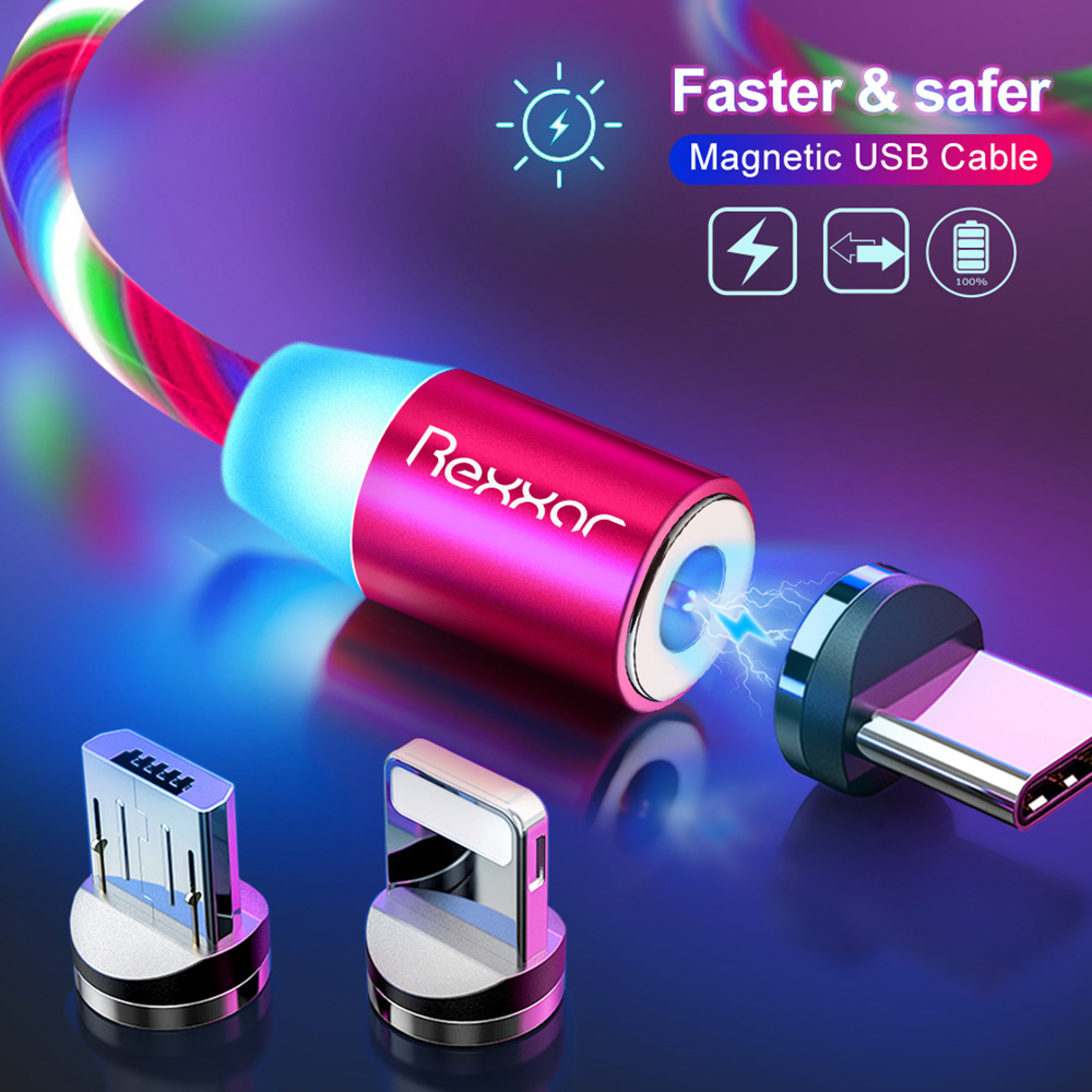 Magnetic USB Charging Cable Micro USB Type C Magnet Charger Cord For iphone Samsung Xiaomi Fast Mobile Phone Magnetic Cable LED