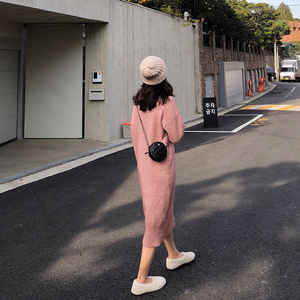 Image 5 - גולף קשמיר סרוג סוודר שמלת נשים סתיו אביב אטריות אלסטי ארוך שרוול עבה סוודר חורף שמלה