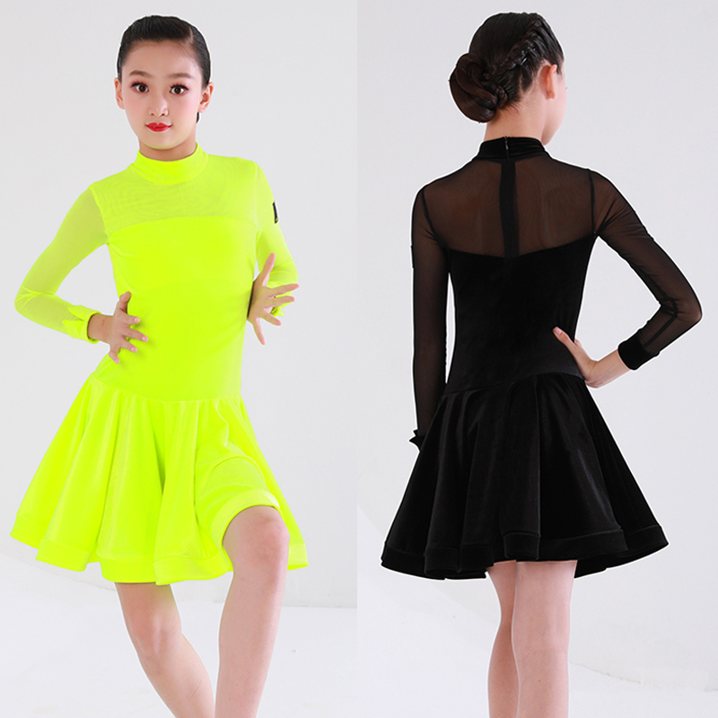 Fluorescent Green Dance Dress Kids Latin Dance Competition Clothing Long Sleeve Dress Salsa Dance Costume Children Latin Dress