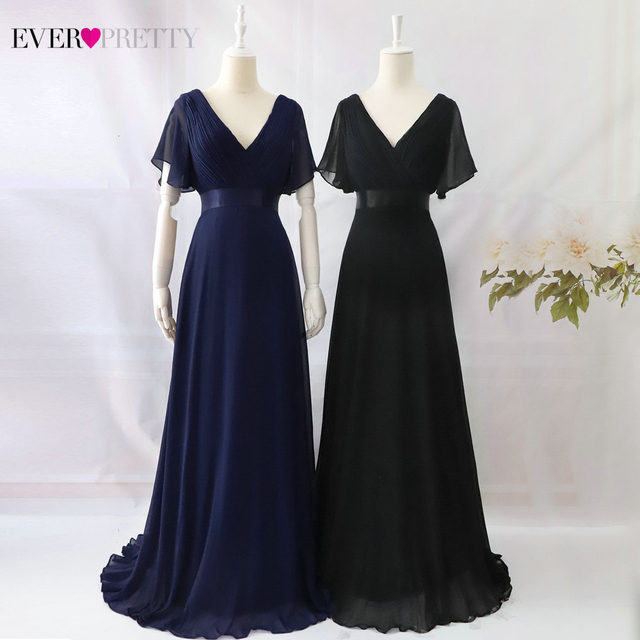 Plus Size Evening Dresses Ever Pretty EP09890 Elegant V-Neck Ruffles Chiffon Formal Evening Gown Party Dress Robe De Soiree 2019 4