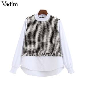 Image 1 - Vadim kadınlar zarif tüvit patchwork bluz uzun kollu ruffled yaka gömlek tatlı tiki tarzı kadın rahat chic tops LB708